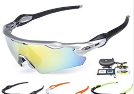 35e404da4f Lorsoul UV400 Polarized Sunglasses Sports Glasses with 5 Interchangeable  Lenses for Men Women Outdoor Sports Cycling Golf Fishing Baseball Running